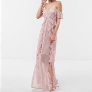 Dusty pink cold shoulder ruffle maxi dress